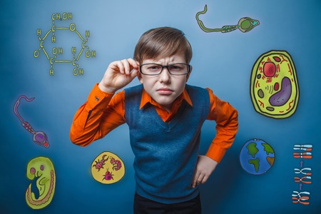 cartoon sperm: retro style boy holds hand glasses looking forward bent studying the biology education icon set form of the parasite embryo cells