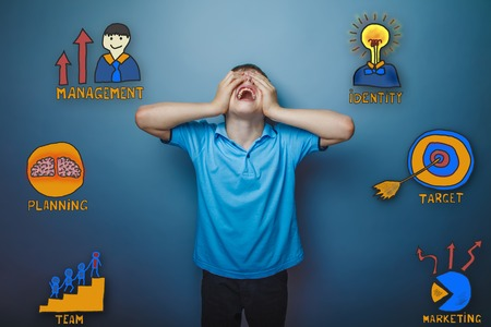threw: teenage boy threw his head shouts opened his mouth and closed eyes with his hands collection of business icons management team goal sketch Stock Photo