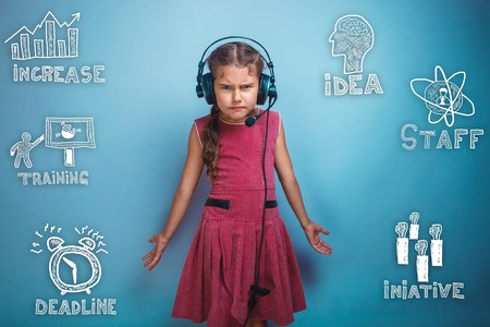 thumbnail: Teenage girl in headphones spread his arms thumbnail icons set business strategy