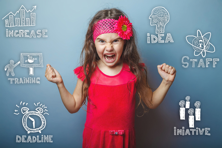 thumbnail: the child is angry teenager girl opened her mouth clenched her fists thumbnail icons set business strategy