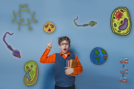 starch: teen boy with glasses and orange shirt surprised points his finger upward opened his mouth icons biology education formation of the embryo cell parasite