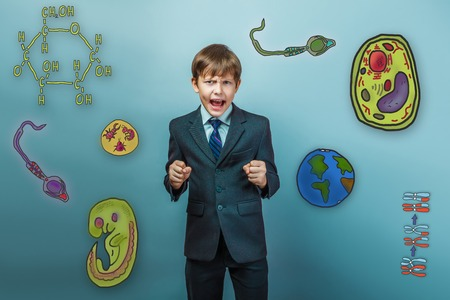 cartoon sperm: Teenage boy in a business style suit yelling opened his mouth clenched his hands into fists icons biology education formation of the embryo cell parasite