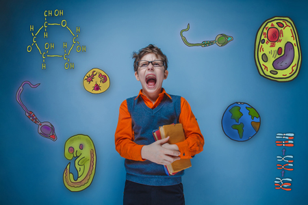 parasite: teenage boy retro style glasses holds book and shouts opened his mouth wide set of icons biology education formation of the embryo cell parasite