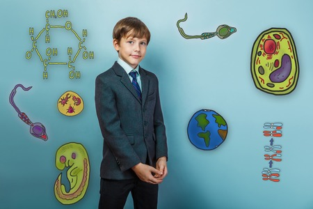 parasite: Teenage boy smiling businessman standing arms crossed icon set Education biology of the parasite cell embryo formation Stock Photo