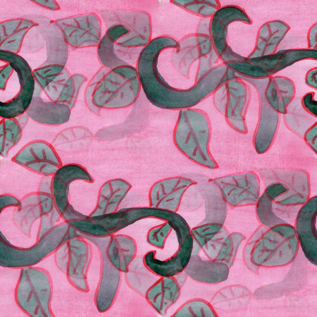 vine leaves: seamless  watercolor vine flower vine leaves green pink background