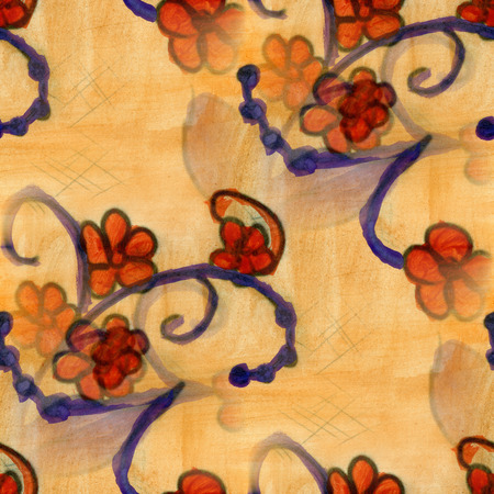 red wallpaper: watercolor  flowers seamless handmade yellow red wallpaper background