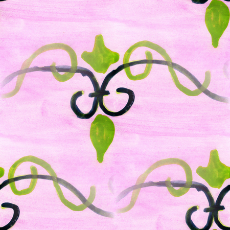 pink and green: watercolor  flowers seamless handmade pink green wallpaper background
