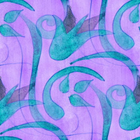 blue violet: watercolor  blue violet flowers seamless handmade wallpaper  background