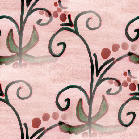 black and pink: watercolor  flowers seamless background black pink  wallpaper handmade