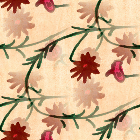pink and green: watercolor  flowers seamless background pink green wallpaper handmade