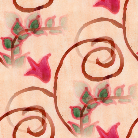 red wallpaper: flowers  seamless  background pink red wallpaper handmade watercolor