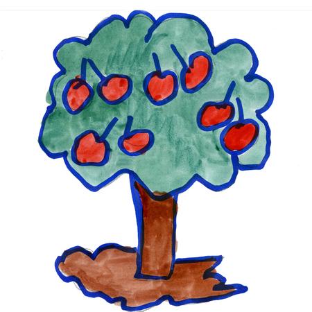 manzana caricatura: manzana aislado en blanco fondo de la acuarela de dibujos animados
