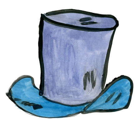 mad: cylinder hat isolated on white background cartoon watercolor