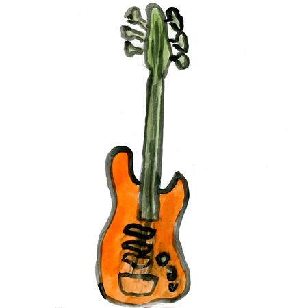 ukelele: Guitar isolated on white background cartoon watercolor