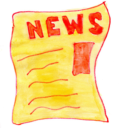 newsprint: News isolated on white background cartoon watercolor