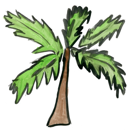island cartoon: palm  tree isolated on white background cartoon watercolor Stock Photo