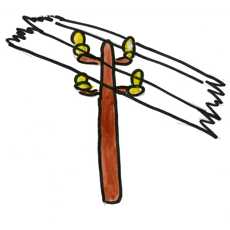 telephone pole: pole wire isolated on white background cartoon watercolor Stock Photo