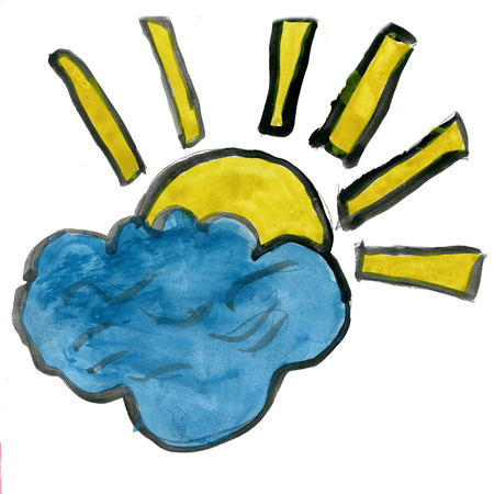 cloud icon: the sun behind a cloud isolated on white  background cartoon watercolor