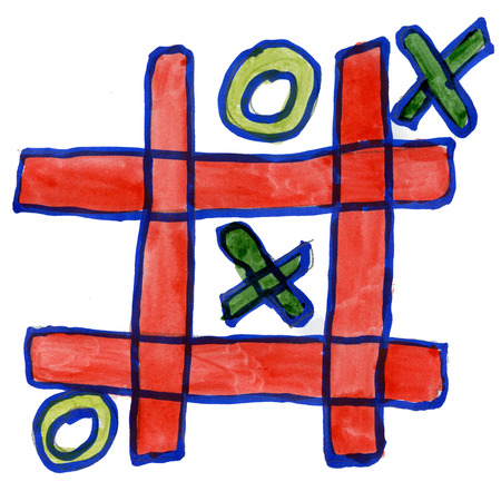 tic tac toe: tic tac toe isolated on white background cartoon watercolor