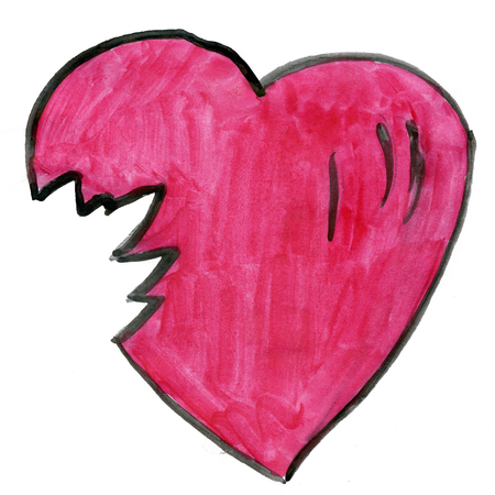 torn heart: torn heart isolated on white background cartoon watercolor Stock Photo