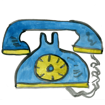 telephone cartoon: wired telephone isolated on white background cartoon watercolor Stock Photo