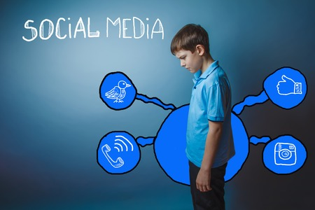 head down: Teen boy is hung his head down reflects social media infographics sketch Internet
