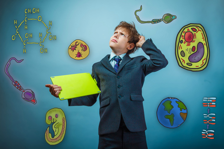 cartoon sperm: Teen boy businessman holding a tablet hand scratching his head looking up frowning icon set Education biology of the parasite cell embryo formation Stock Photo