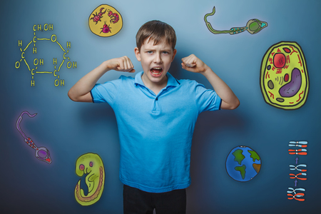 cartoon sperm: Teen boy screaming and showing hands the power icon set Education biology of the parasite cell embryo formation