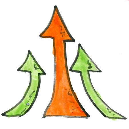 green arrow: cartoon arrow upwards isolated on white background