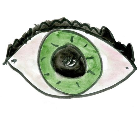 green eyes: cartoon green eyes isolated on white background Stock Photo