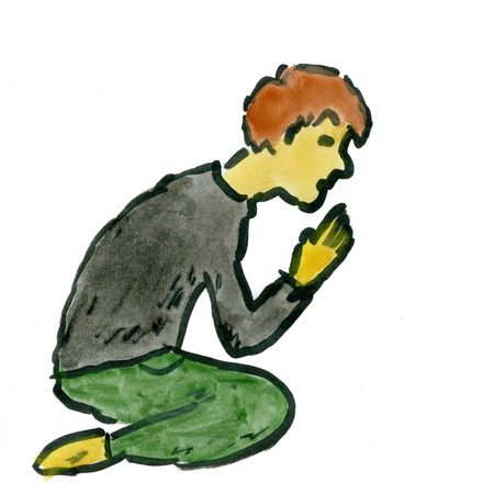 man begging: cartoon man praying isolated on white background Stock Photo