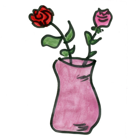 Cartoon Roses In A Vase Isolated On White Background Stock Photo