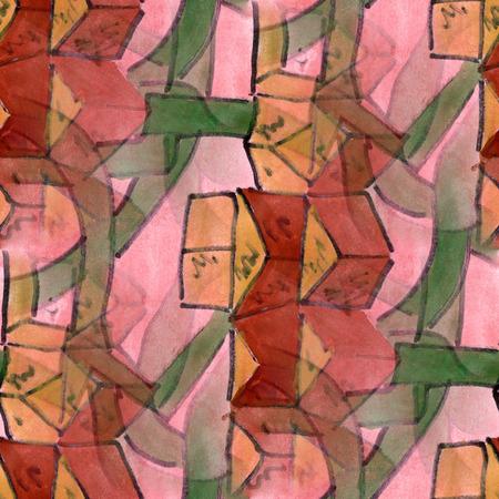 cubismo: Arte rosado cubismo verde estilo abstracto de Picasso sin fisuras papel tapiz de la acuarela