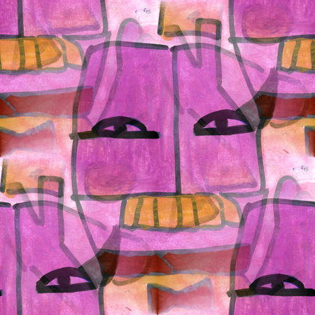 cubism: Art mask  of the shaman cubism abstract style of picasso seamless wallpaper watercolor Stock Photo