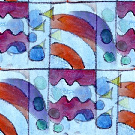cubismo: Arte azul rojo cubismo de Picasso estilo abstracto sin fisuras papel tapiz de la acuarela