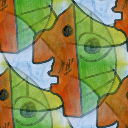 cubism: Art brown  green face cubism abstract style of picasso seamless wallpaper watercolor