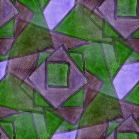 cubismo: cubismo púrpura estilo abstracto verde Arte Mosaicos de Picasso sin costuras fondos de escritorio de la acuarela Foto de archivo