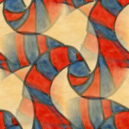cubismo: Arte rojo amarillo cubismo abstracto estilo de Picasso sin fisuras papel tapiz de la acuarela