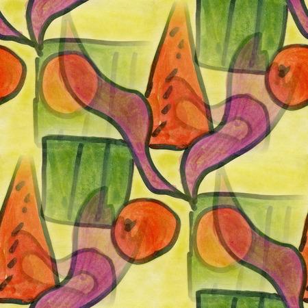 cubismo: cubismo del arte del estilo abstracto de color naranja verde de la acuarela de Picasso sin fisuras papel tapiz
