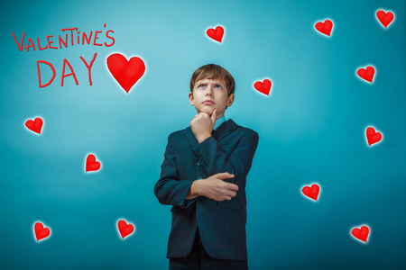adolescent: adolescent the boy businessman thoughtful Valentines Day celebration cartoon sketch Stock Photo