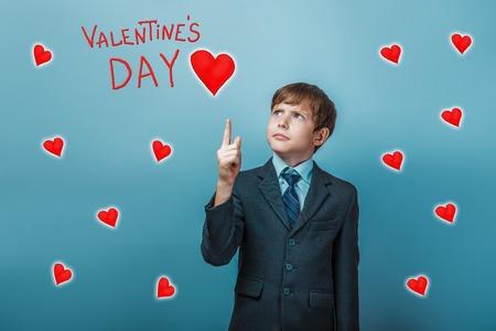 adolescence: boy businessman adolescence points up Valentines Day celebration cartoon sketch