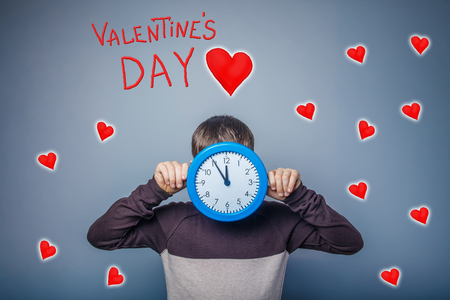 face covered: boy covered his face with a clock time of Valentines Day celebration cartoon sketch