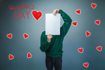 face covered: boy covered his face with a sheet of paper Valentines day celebration cartoon sketch