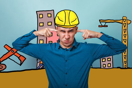 unwillingness: a male covering his ears wrinkled unwillingness to hear the builder in a helmet of the house under construction cartoon sketch