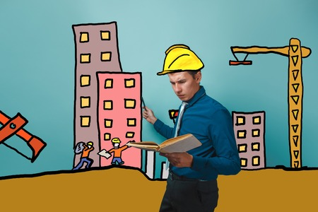 specifies: a man businessman specifies a handle on the builder in a helmet of the house under construction cartoon sketch