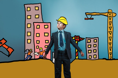 frowned: adolescent boy business suit frowned builder in a helmet of the house under construction cartoon sketch