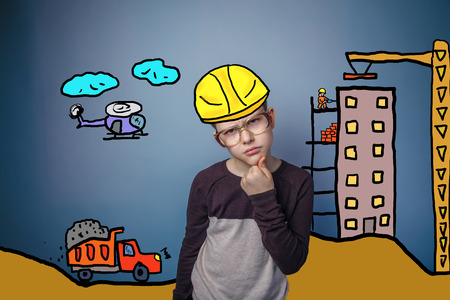 frowned: adolescent boy frowned thinks builder in a helmet of the house under construction cartoon sketch