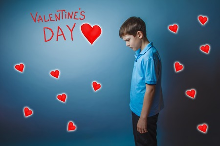 adolescence: adolescence boy lowered his head is Valentines Day celebration cartoon sketch Stock Photo