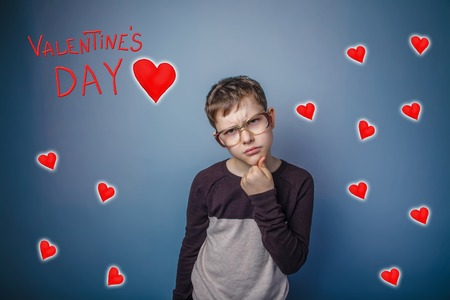 frowned: adolescence boy frowned glasses Valentines day celebration cartoon sketch
