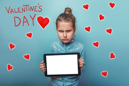 frowned: a girl holding hands tablet frowned Valentines Day celebration cartoon sketch